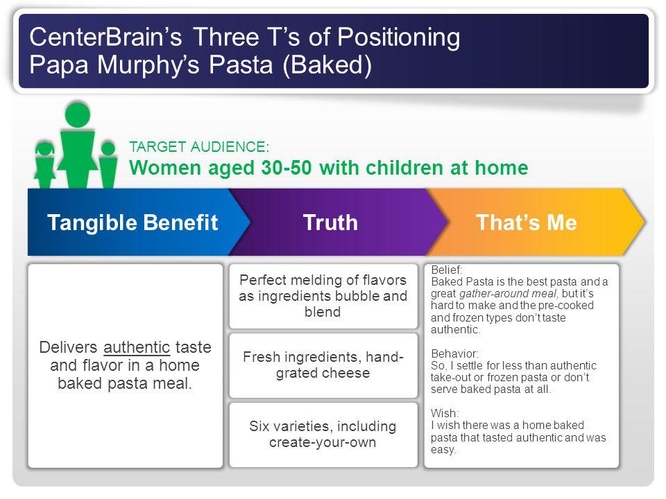 CenterBrain's Three T's of Positioning Papa Murphy's Pasta (Baked)