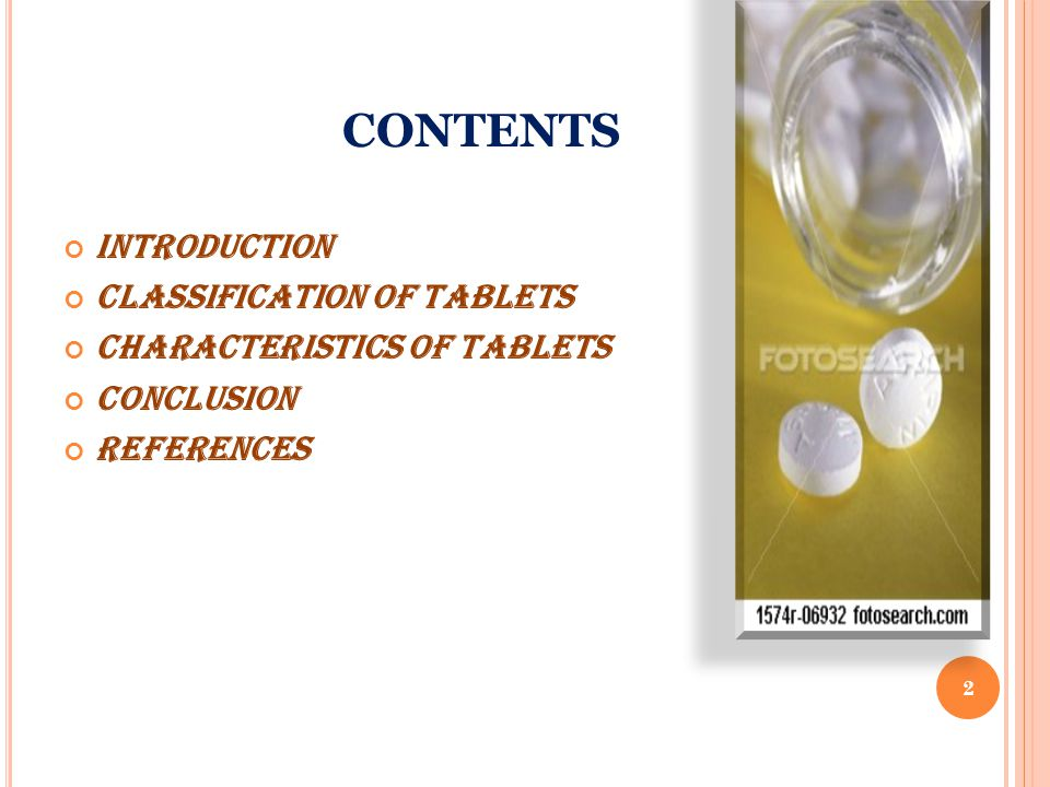 CONTENTS Introduction Classification of tablets