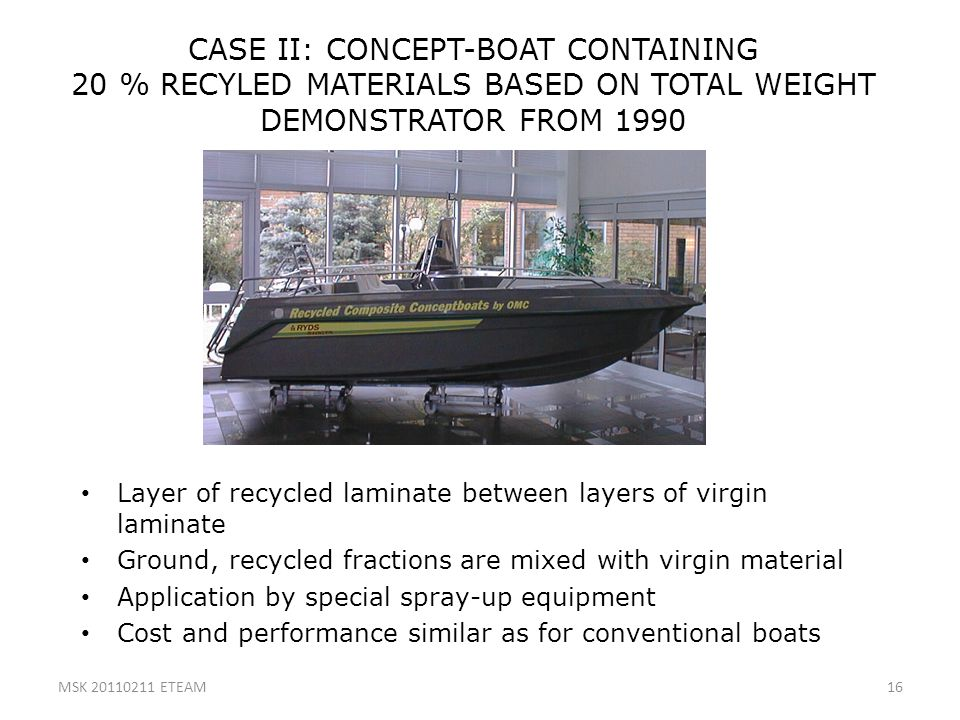 CASE II: CONCEPT-BOAT CONTAINING 20 % RECYLED MATERIALS BASED ON TOTAL WEIGHT DEMONSTRATOR FROM 1990