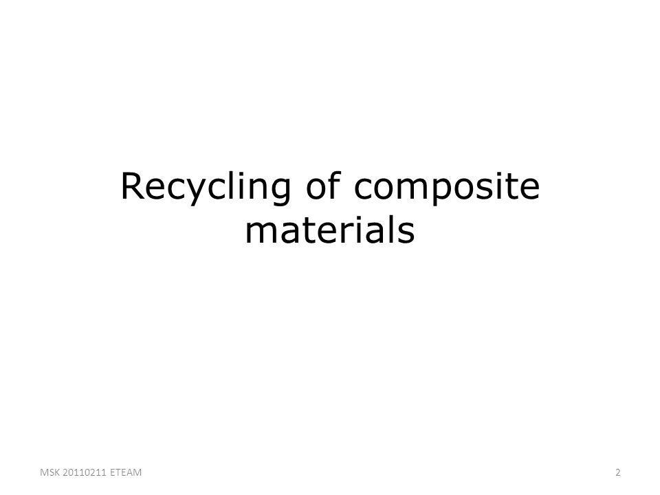 Recycling of composite materials