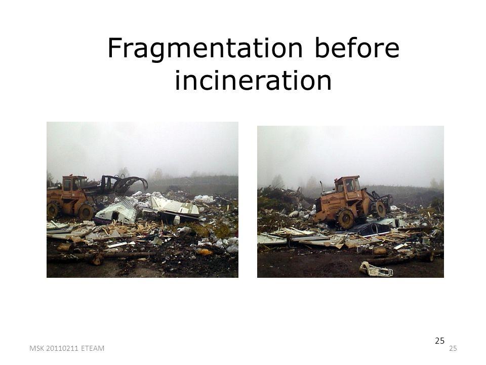 Fragmentation before incineration