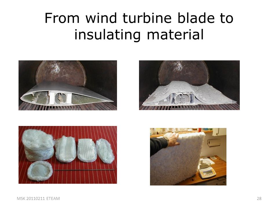 From wind turbine blade to insulating material