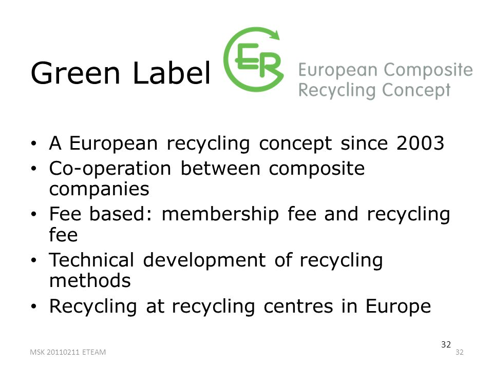Green Label A European recycling concept since 2003