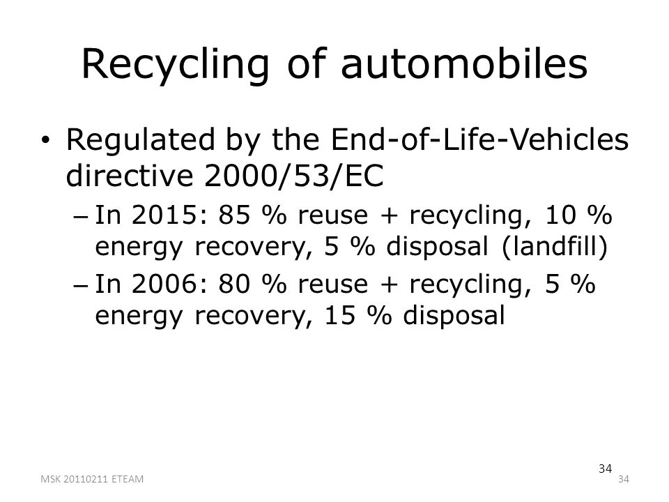 Recycling of automobiles