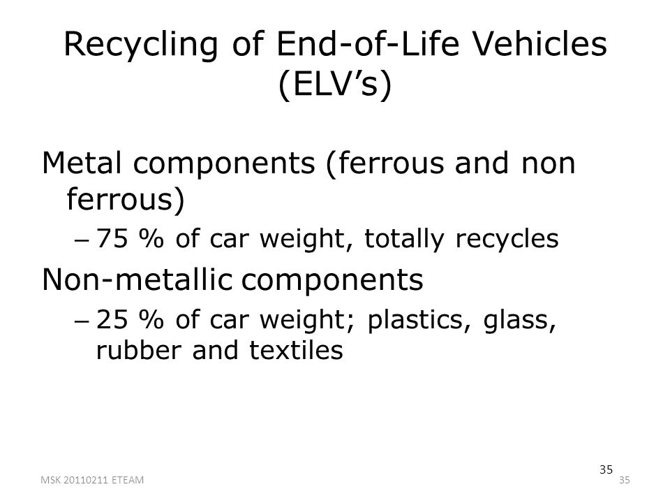 Recycling of End-of-Life Vehicles (ELV's)