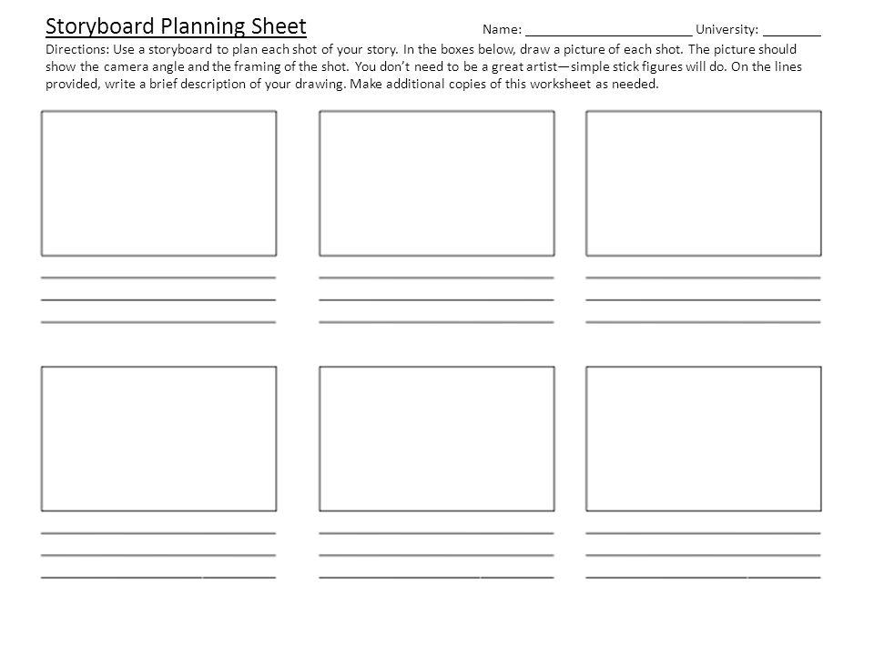 Storyboard Planning Sheet