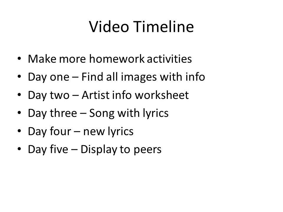 Video Timeline Make more homework activities