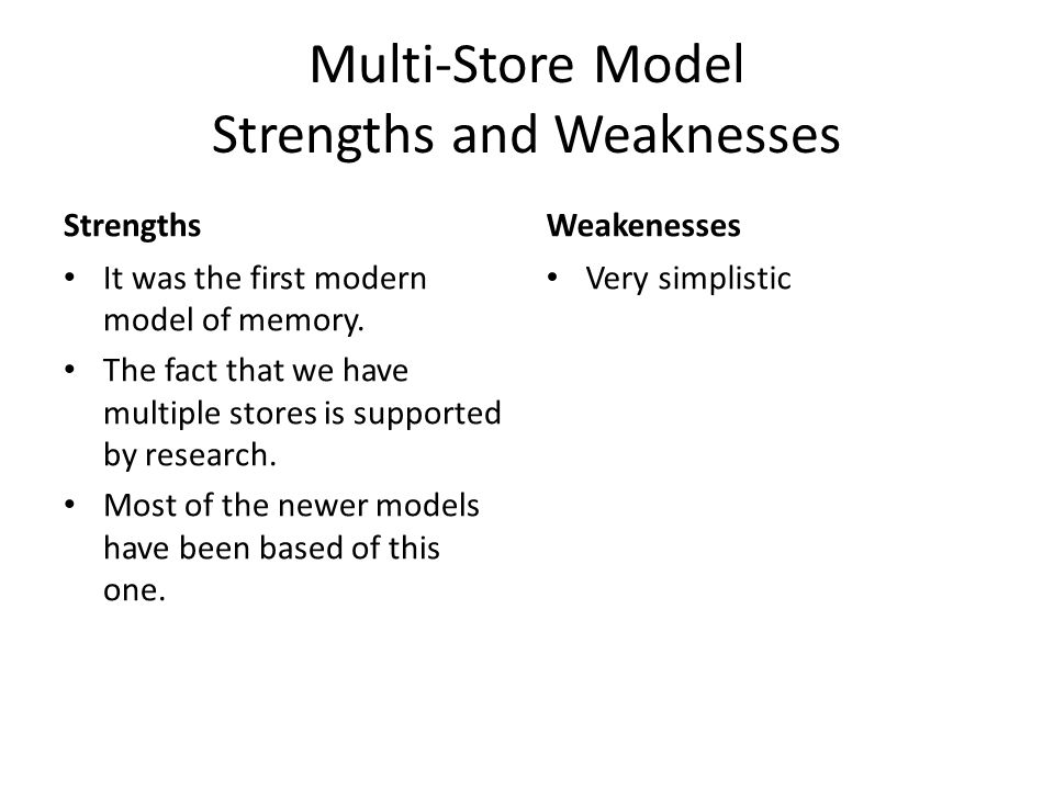 Multi-Store Model Strengths and Weaknesses