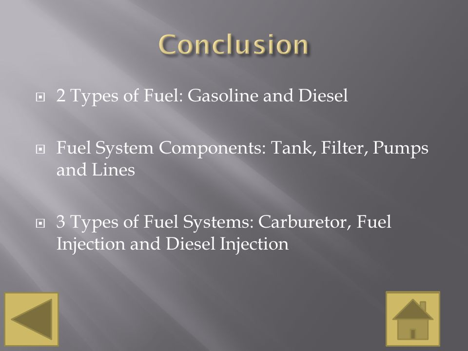 Conclusion 2 Types of Fuel: Gasoline and Diesel