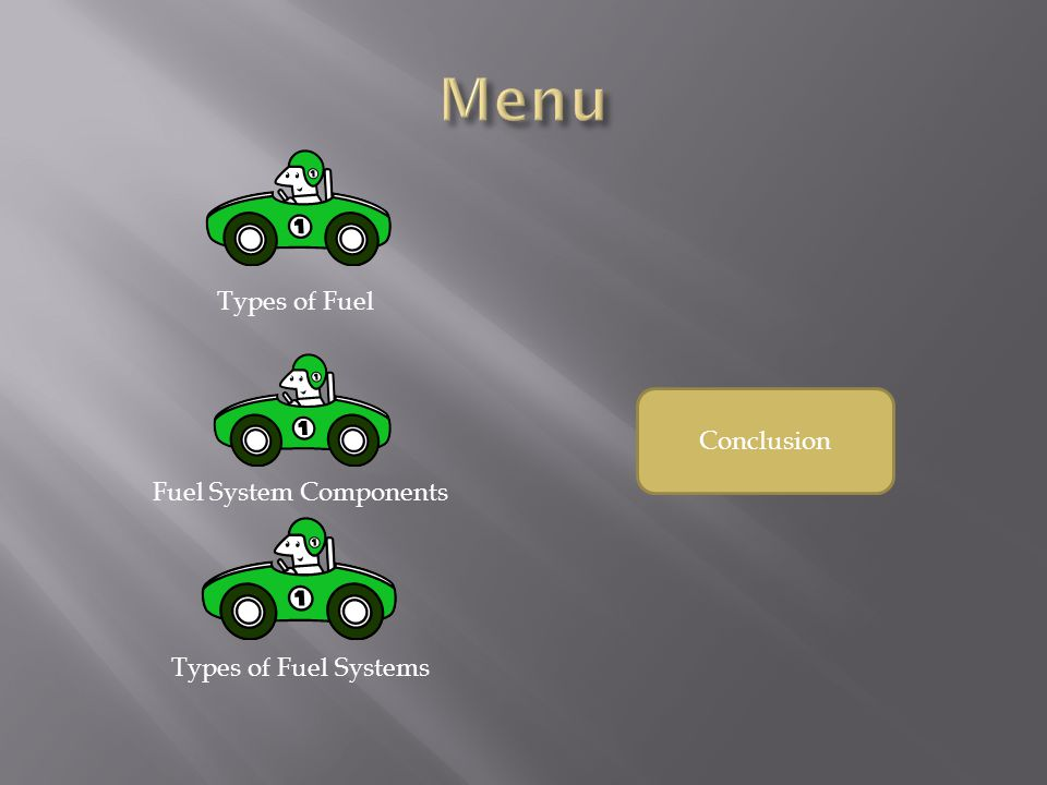 Menu Types of Fuel Conclusion Fuel System Components