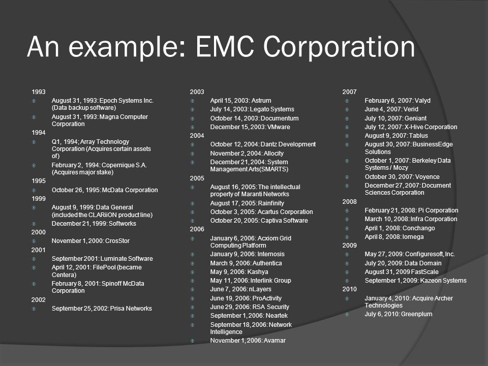 An example: EMC Corporation