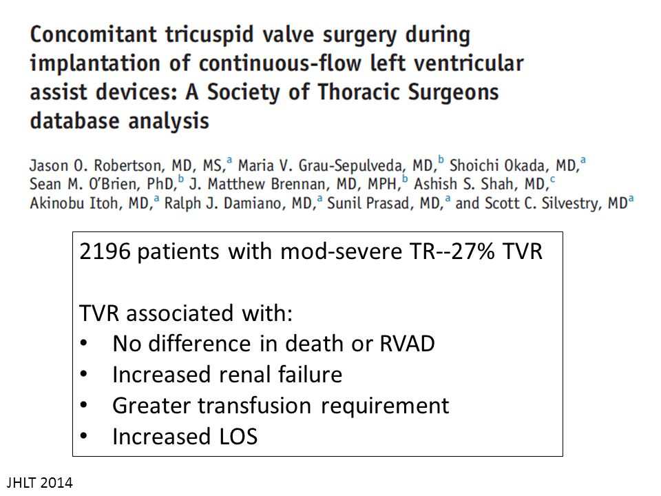 2196 patients with mod-severe TR--27% TVR TVR associated with: