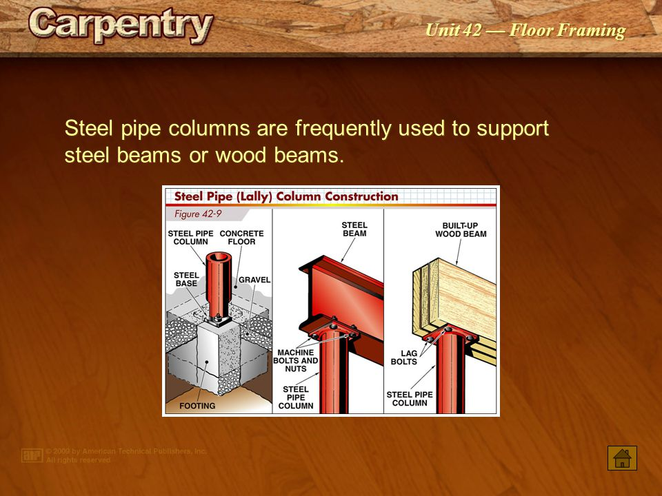 Steel pipe columns are frequently used to support steel beams or wood beams.