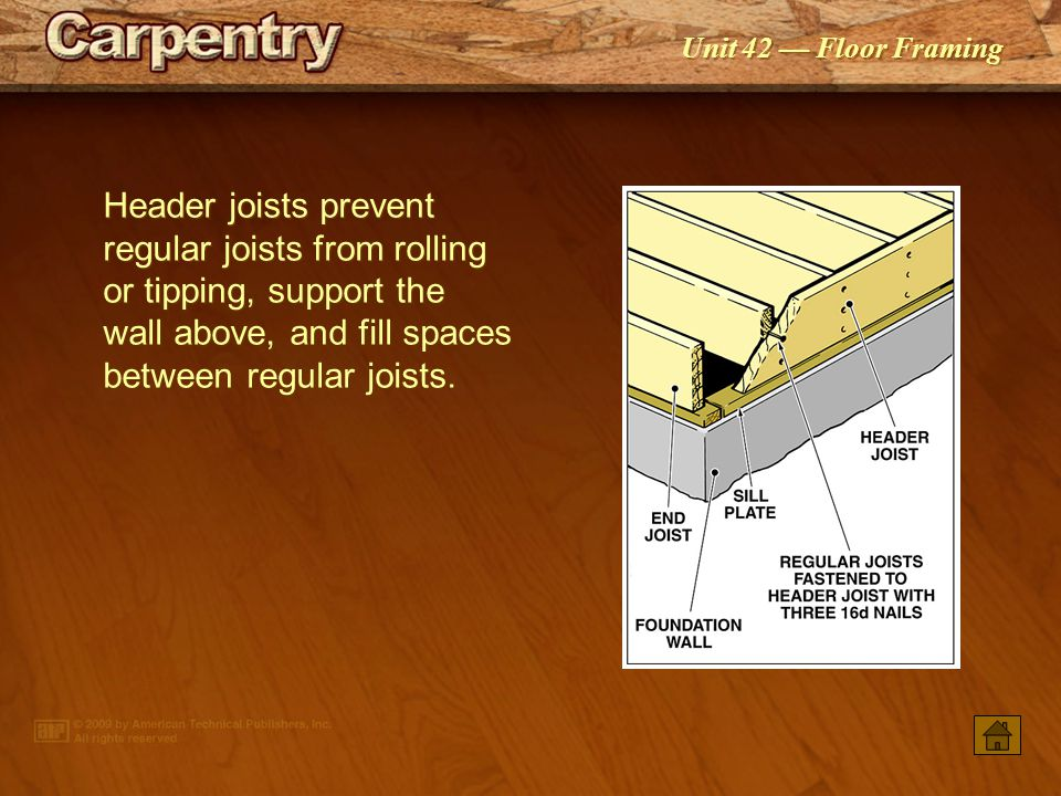 Header joists prevent regular joists from rolling or tipping, support the wall above, and fill spaces between regular joists.