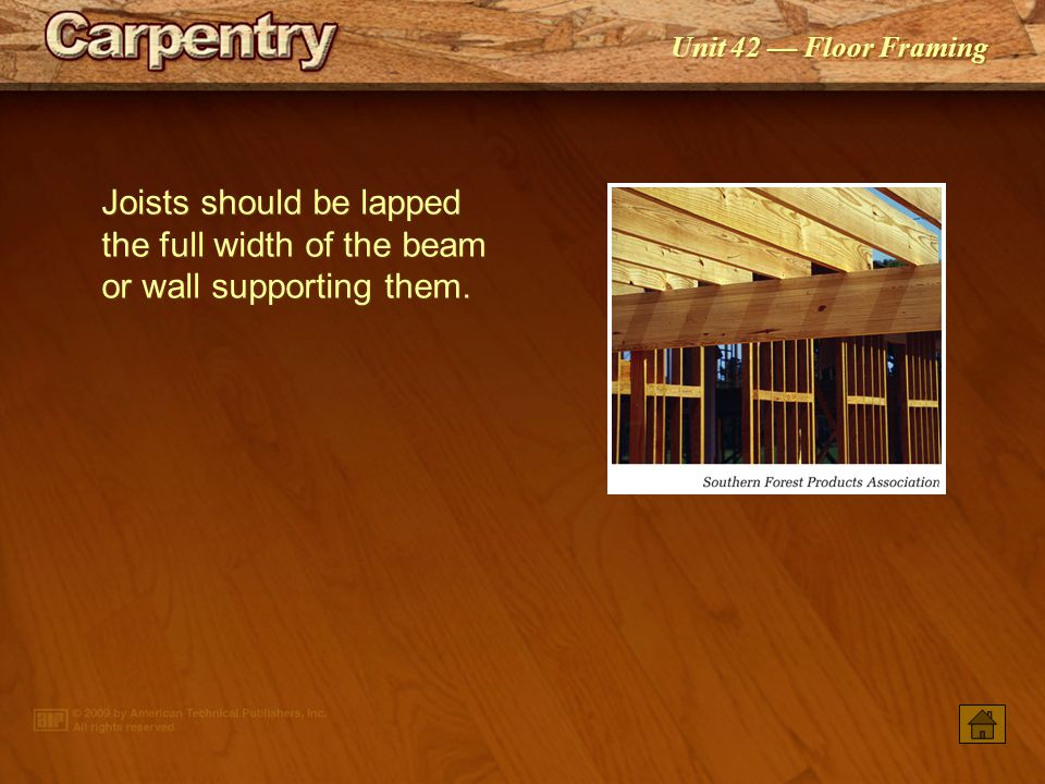 Joists should be lapped the full width of the beam or wall supporting them.