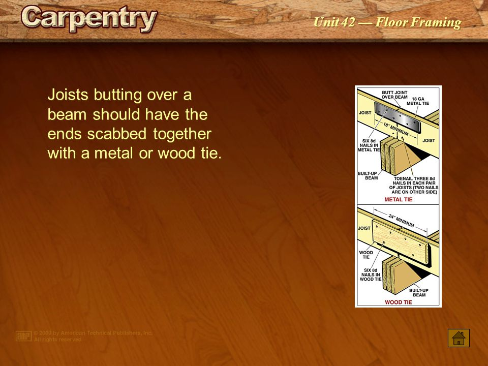 Joists butting over a beam should have the ends scabbed together with a metal or wood tie.