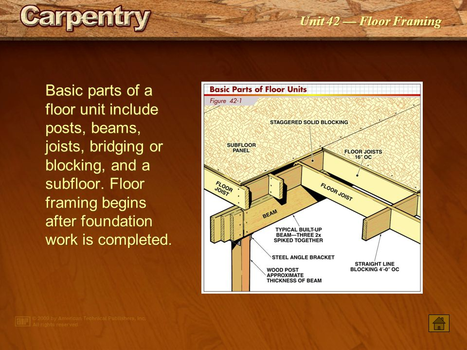 Basic parts of a floor unit include posts, beams, joists, bridging or blocking, and a subfloor. Floor framing begins after foundation work is completed.