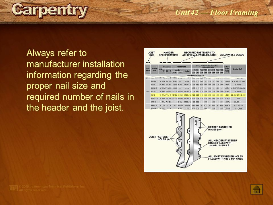 Always refer to manufacturer installation information regarding the proper nail size and required number of nails in the header and the joist.