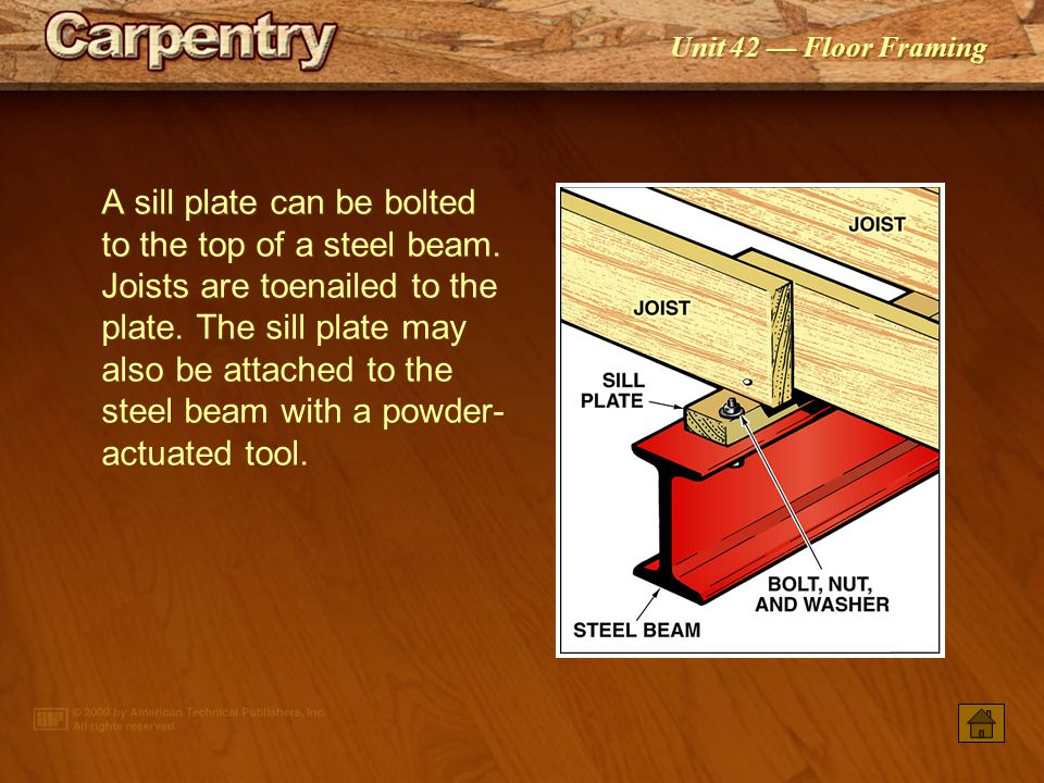 A sill plate can be bolted to the top of a steel beam
