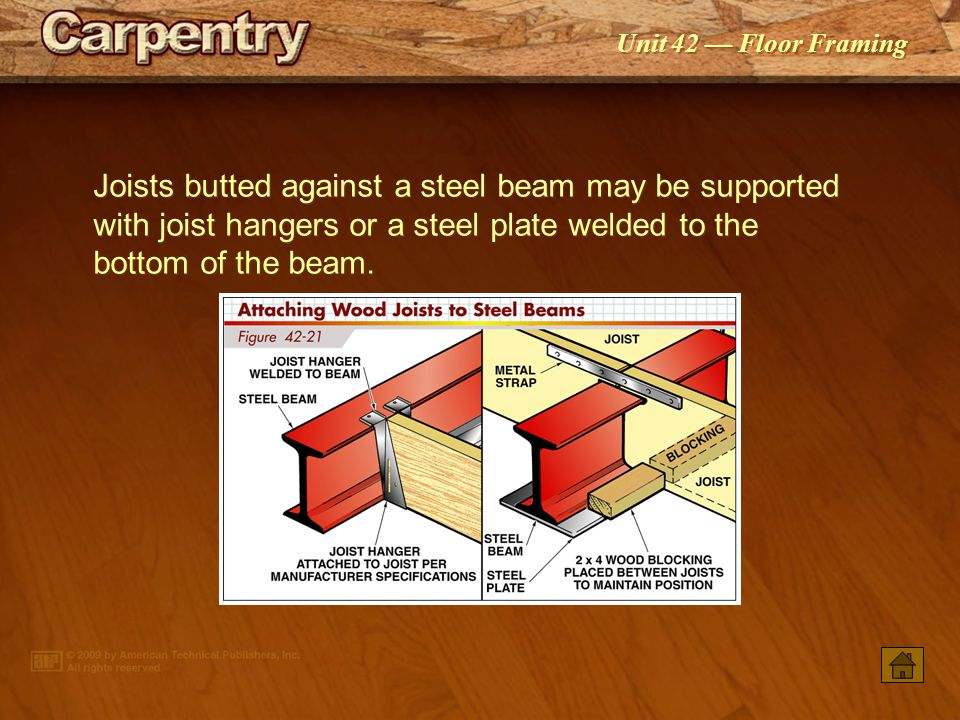 Joists butted against a steel beam may be supported with joist hangers or a steel plate welded to the bottom of the beam.