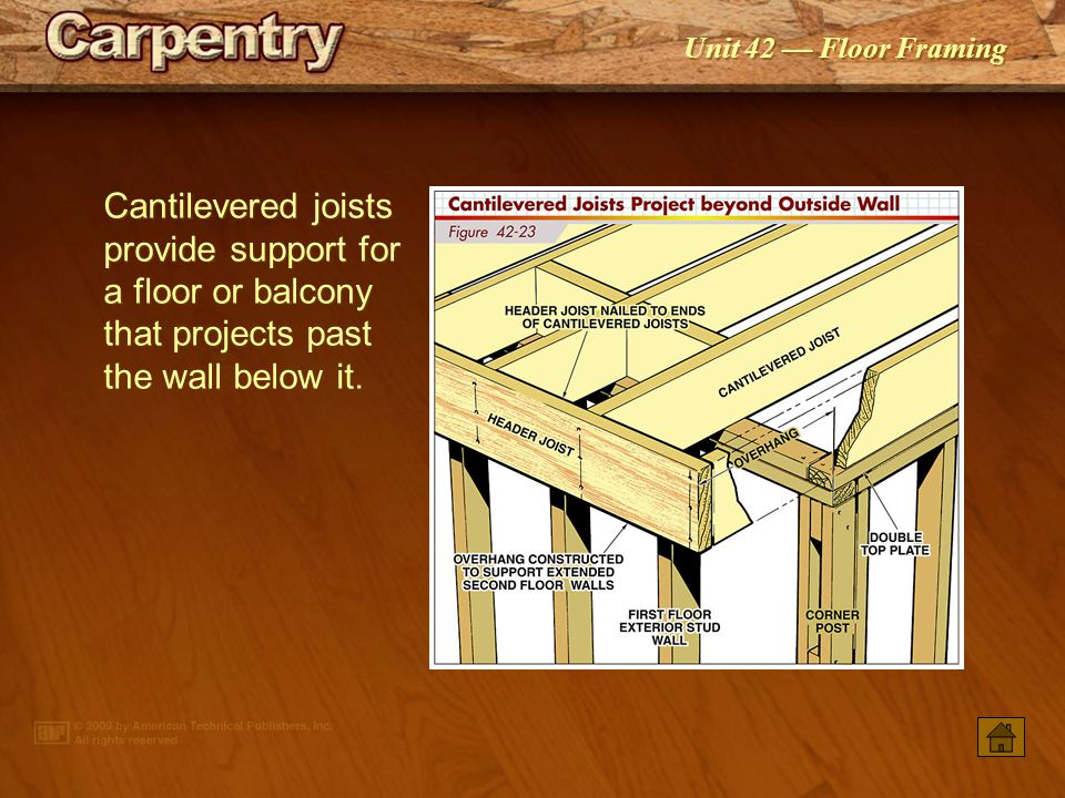 Cantilevered joists provide support for a floor or balcony that projects past the wall below it.
