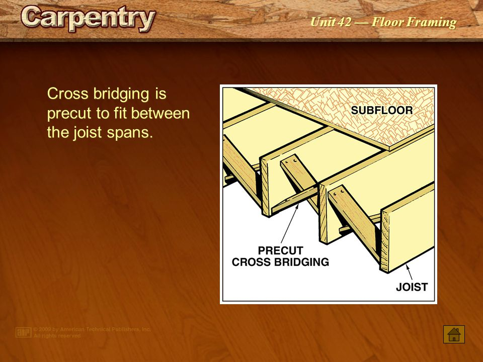 Cross bridging is precut to fit between the joist spans.
