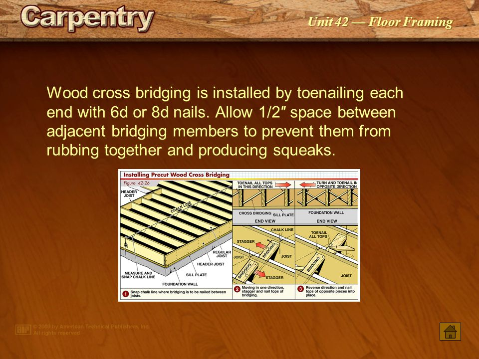 Wood cross bridging is installed by toenailing each end with 6d or 8d nails. Allow 1/2″ space between adjacent bridging members to prevent them from rubbing together and producing squeaks.