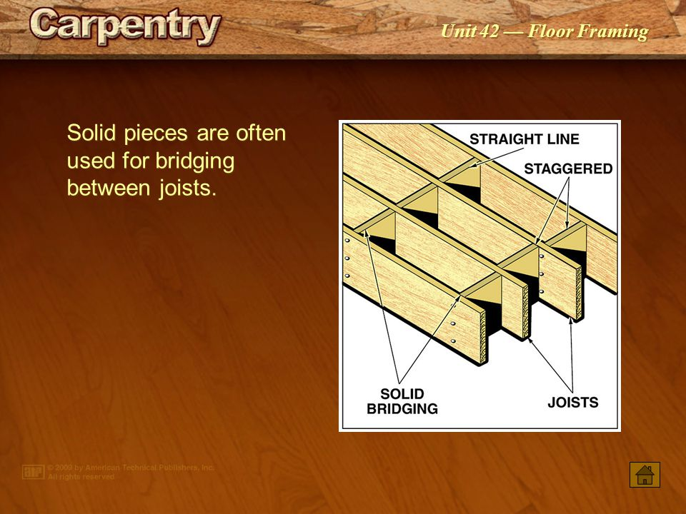 Solid pieces are often used for bridging between joists.
