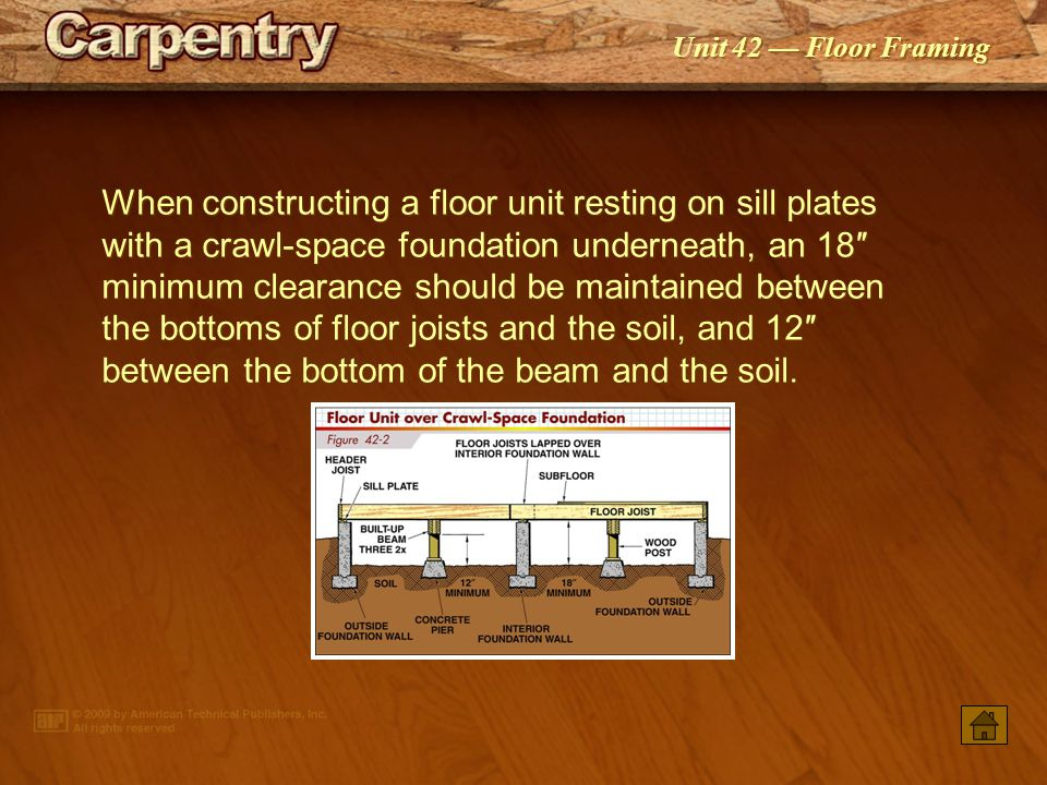 When constructing a floor unit resting on sill plates with a crawl-space foundation underneath, an 18″ minimum clearance should be maintained between the bottoms of floor joists and the soil, and 12″ between the bottom of the beam and the soil.