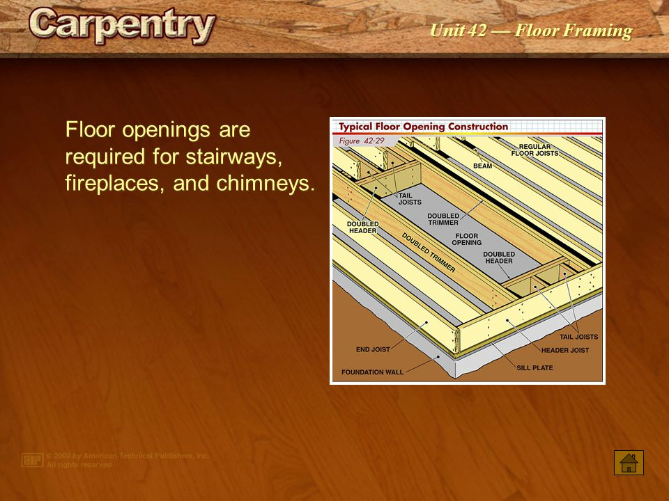Floor openings are required for stairways, fireplaces, and chimneys.