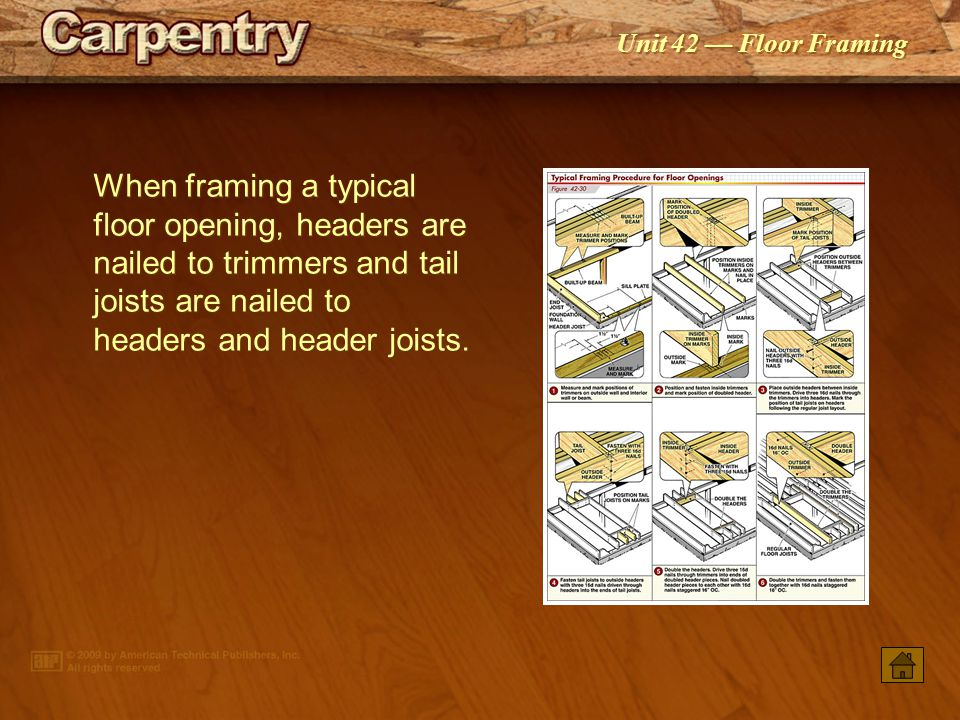 When framing a typical floor opening, headers are nailed to trimmers and tail joists are nailed to headers and header joists.