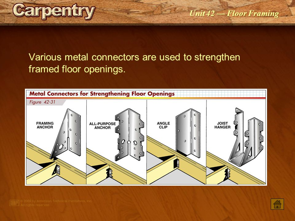 Various metal connectors are used to strengthen framed floor openings.