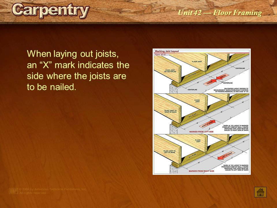 When laying out joists, an X mark indicates the side where the joists are to be nailed.