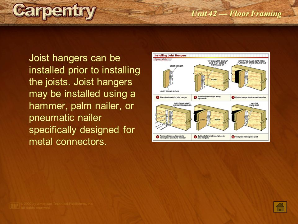 Joist hangers can be installed prior to installing the joists