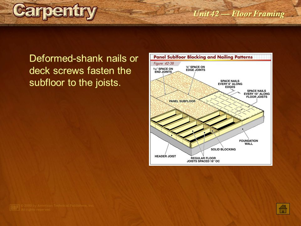 Deformed-shank nails or deck screws fasten the subfloor to the joists.