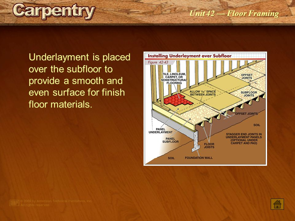 Underlayment is placed over the subfloor to provide a smooth and even surface for finish floor materials.