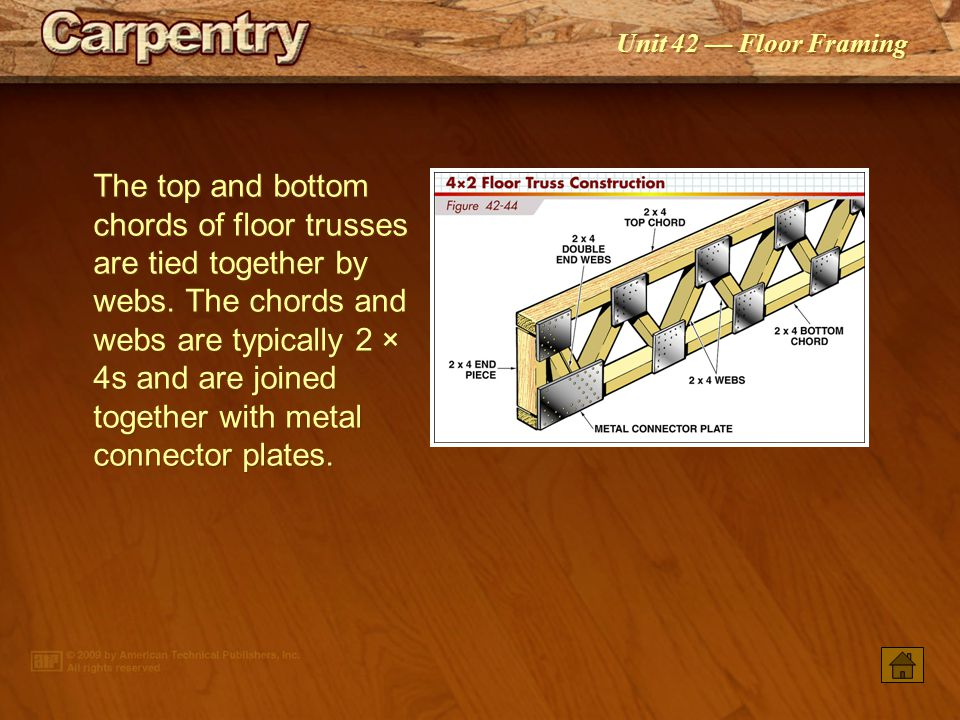 The top and bottom chords of floor trusses are tied together by webs