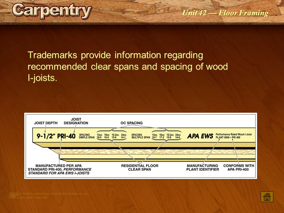 Trademarks provide information regarding recommended clear spans and spacing of wood I-joists.