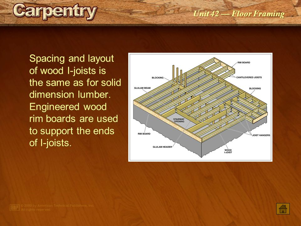 Spacing and layout of wood I-joists is the same as for solid dimension lumber. Engineered wood rim boards are used to support the ends of I-joists.