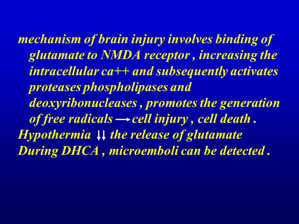 mechanism of brain injury involves binding of glutamate to NMDA receptor , increasing the intracellular ca++ and subsequently activates proteases phospholipases and deoxyribonucleases , promotes the generation of free radicals cell injury , cell death .