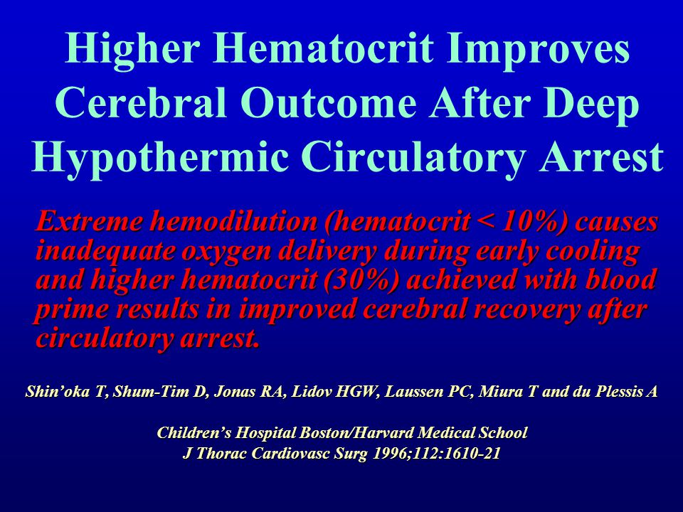 Higher Hematocrit Improves Cerebral Outcome After Deep Hypothermic Circulatory Arrest