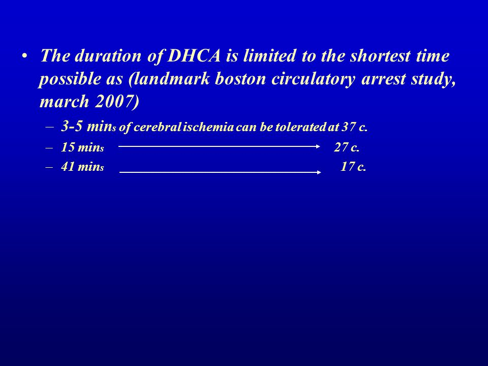 The duration of DHCA is limited to the shortest time possible as (landmark boston circulatory arrest study, march 2007)