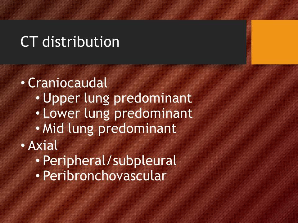 CT distribution Craniocaudal Upper lung predominant