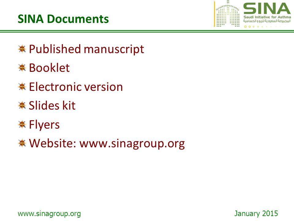 SINA Documents Published manuscript. Booklet. Electronic version.