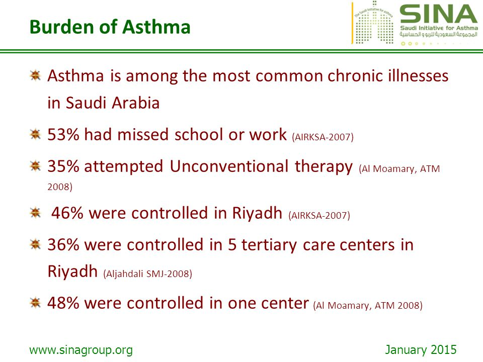 Burden of Asthma Asthma is among the most common chronic illnesses in Saudi Arabia. 53% had missed school or work (AIRKSA-2007)
