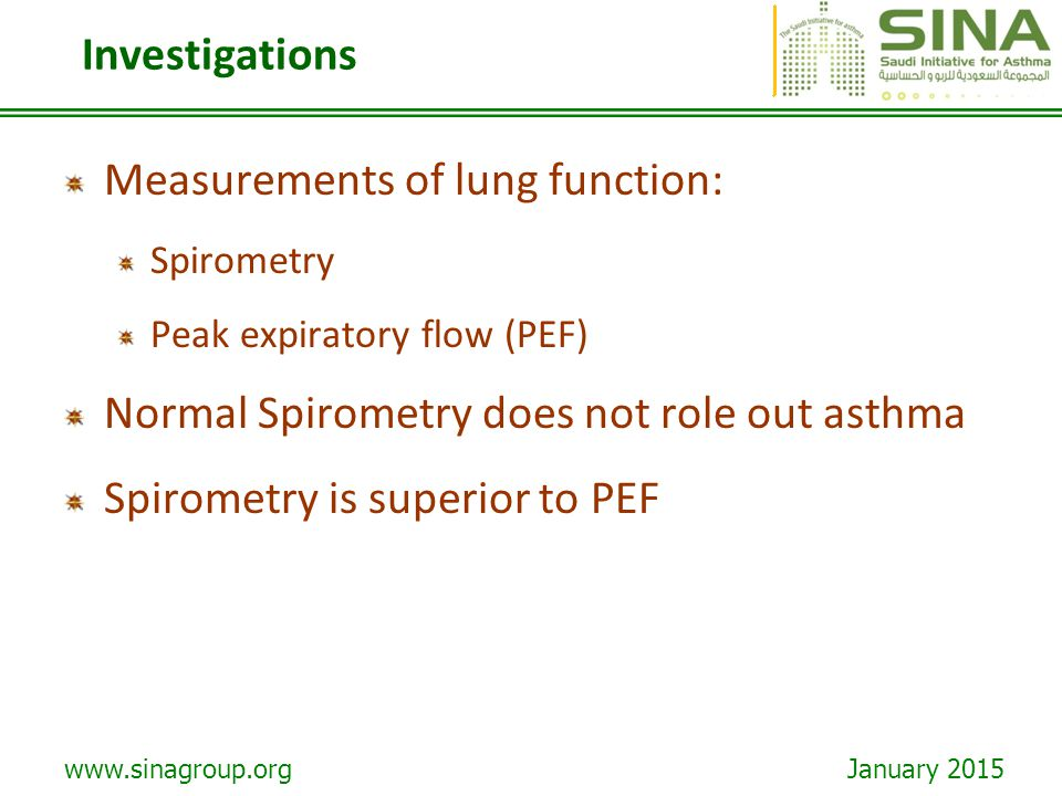 Measurements of lung function: