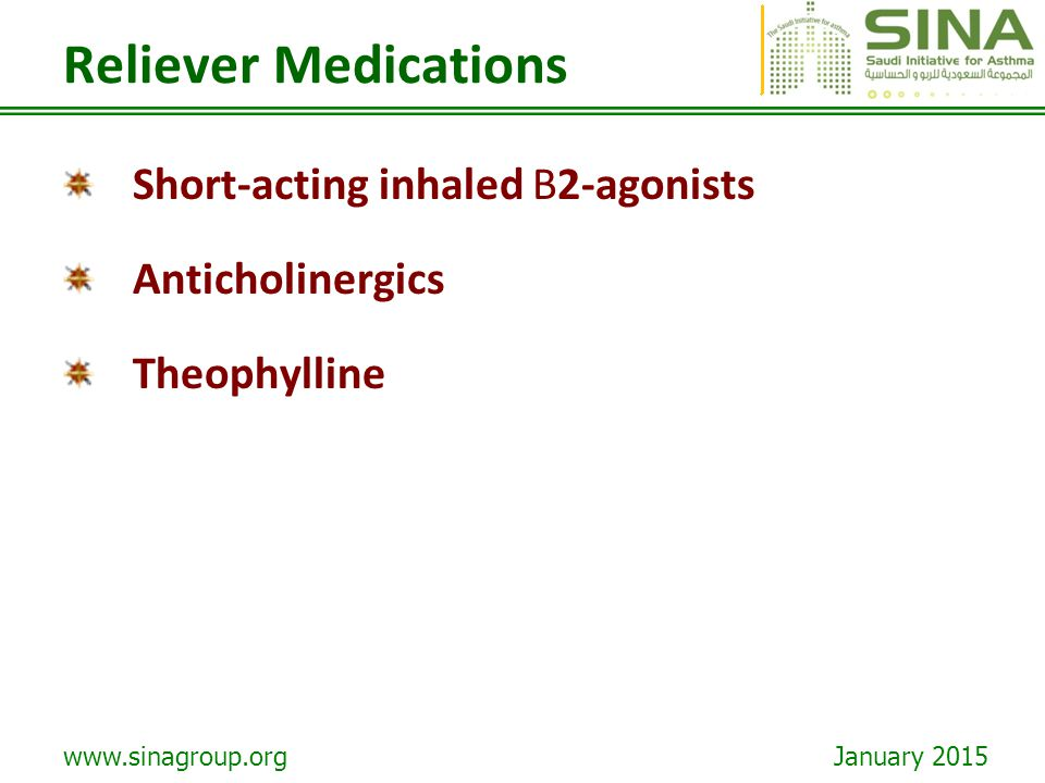 Reliever Medications Short-acting inhaled B2-agonists Anticholinergics