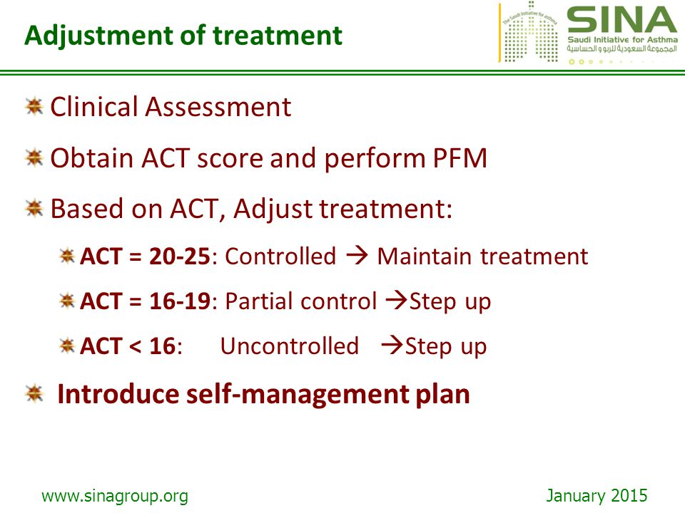 Adjustment of treatment