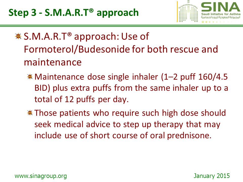 Step 3 - S.M.A.R.T® approach S.M.A.R.T® approach: Use of Formoterol/Budesonide for both rescue and maintenance.