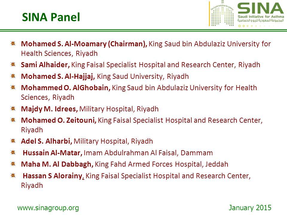 SINA Panel Mohamed S. Al-Moamary (Chairman), King Saud bin Abdulaziz University for Health Sciences, Riyadh.